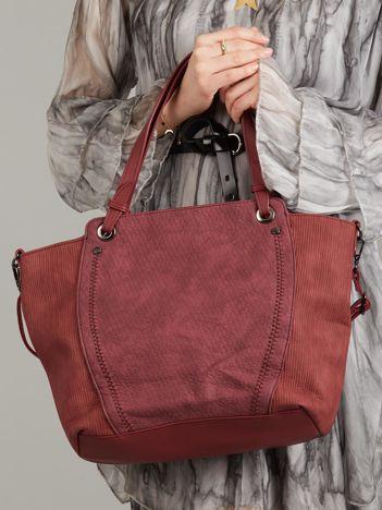 Bordowa torba ze skóry ekologicznej