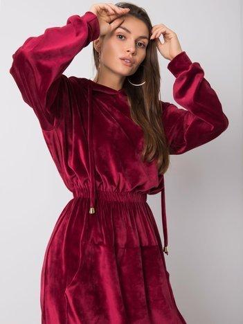 Bordowa welurowa sukienka Malory RUE PARIS