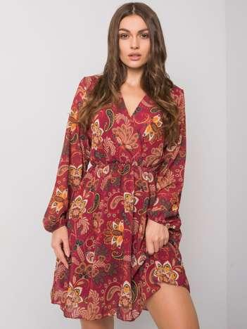 Bordowa wzorzysta sukienka Yanika RUE PARIS