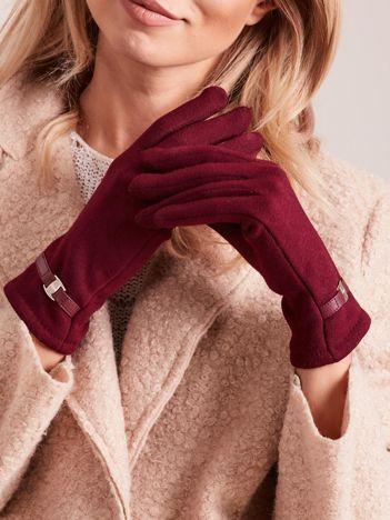 Bordowe eleganckie rękawiczki