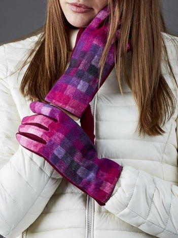 Bordowe rękawiczki damskie w kolorową kratę
