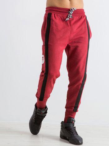 Bordowe spodnie dresowe męskie Skeleton