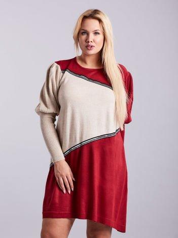 Bordowo-beżowa sukienka dzianinowa PLUS SIZE
