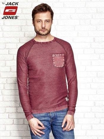 Bordowy dekatyzowany sweter męski z kieszonką