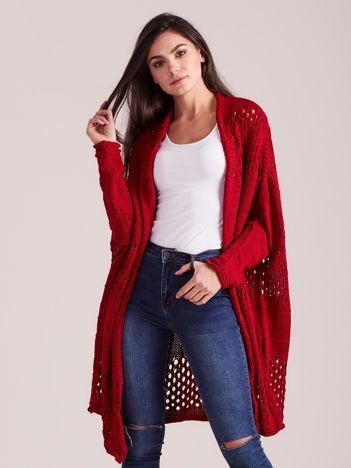 Bordowy długi ażurowy sweter