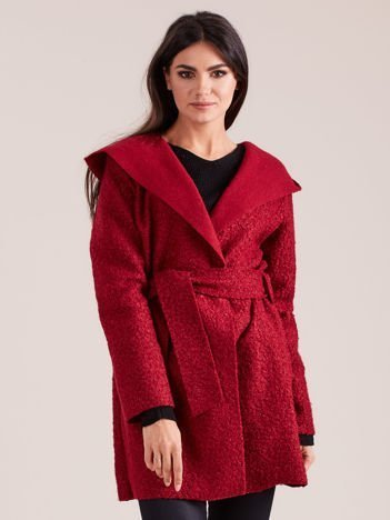 Bordowy dzianinowy płaszcz z kapturem