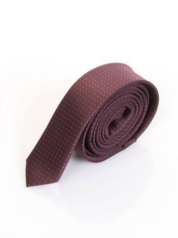 Bordowy krawat w kropki
