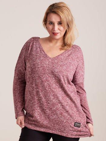 Bordowy lekki sweter melanżowy V-neck PLUS SIZE