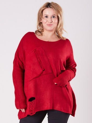 Bordowy luźny sweter PLUS SIZE