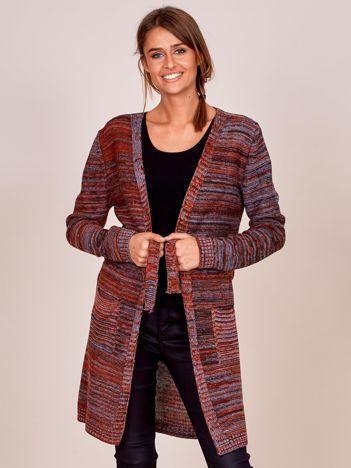 Bordowy melanżowy sweter z wiązaniem