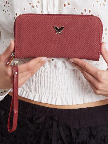 Bordowy portfel damski z uchwytem