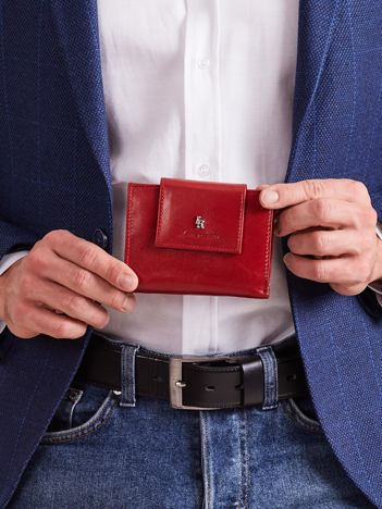 Bordowy skórzany portfel z klapką
