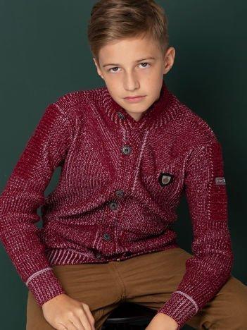 Bordowy sweter dla chłopca z kieszeniami