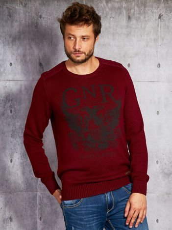 Bordowy sweter męski z nadrukiem