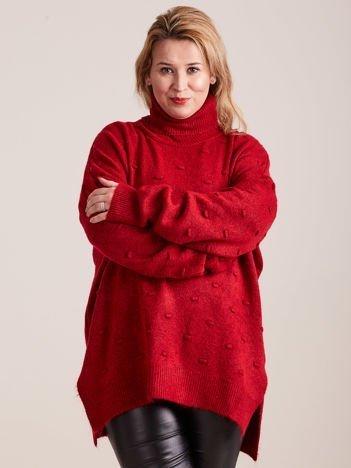 Bordowy sweter z golfem PLUS SIZE