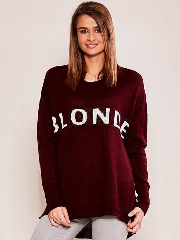 Bordowy sweter z napisem