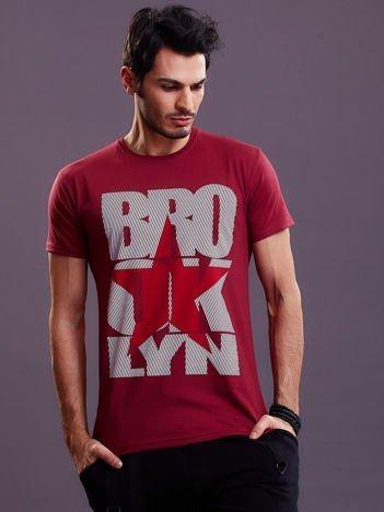 Bordowy t-shirt męski Brooklyn