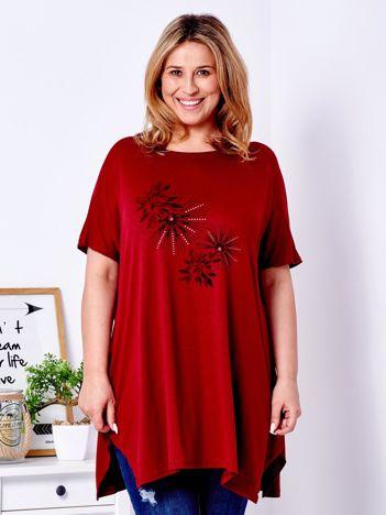 Bordowy t-shirt z roślinnym printem PLUS SIZE