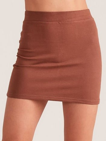 Brązowa dresowa spódnica mini