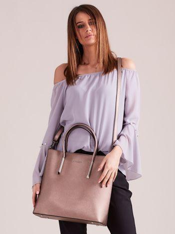 Brązowa elegancka torba z metalicznym połyskiem