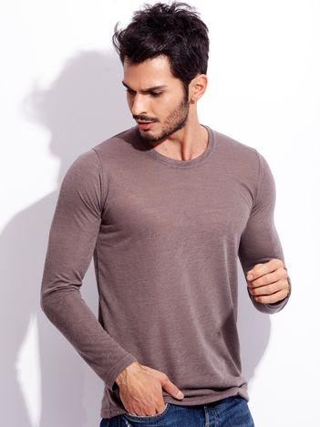 Brązowa koszulka męska basic z długim rękawem