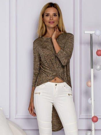 Brązowa melanżowa bluzka z dłuższym tyłem