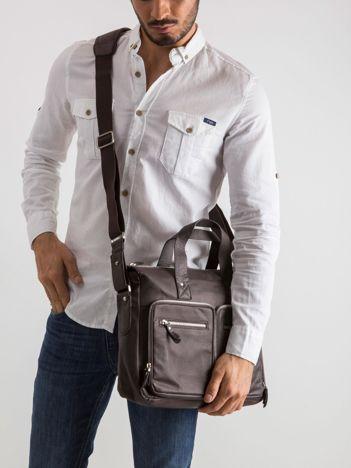 Brązowa męska torba z odpinanym paskiem