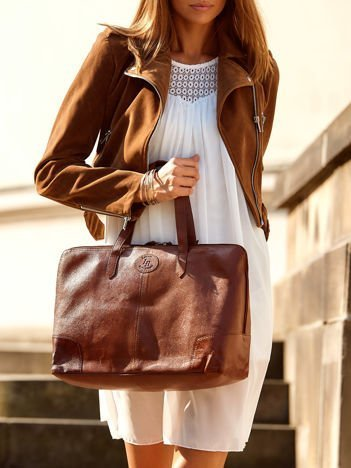 Brązowa miejska torba do ręki ze skóry
