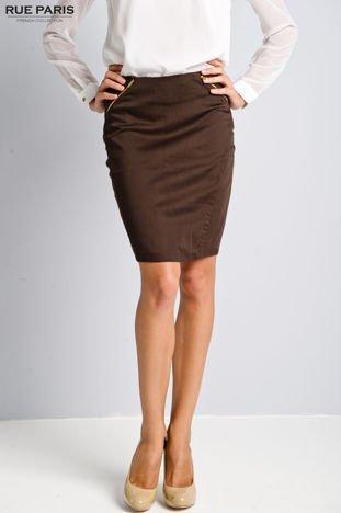 Brązowa ołówkowa spódnica ze złotymi suwakami