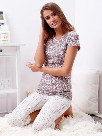 Brązowa piżama damska w kwiaty