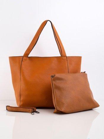 Brązowa pojemna torba z ekoskóry
