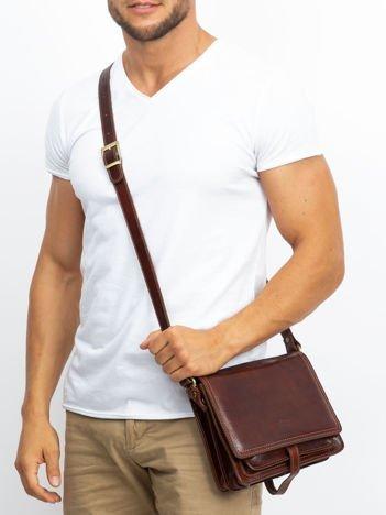 Brązowa skórzana torba męska z klapką
