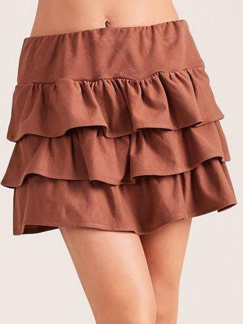 Brązowa spódnica mini z falbanami