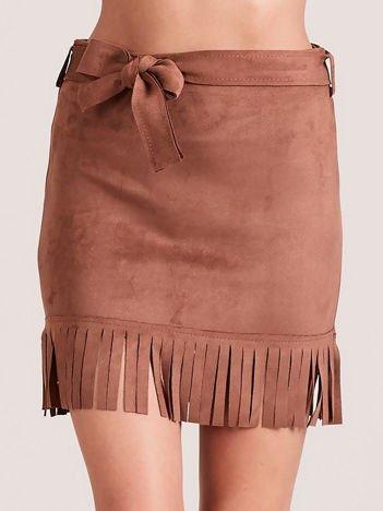 Brązowa spódnica z frędzlami