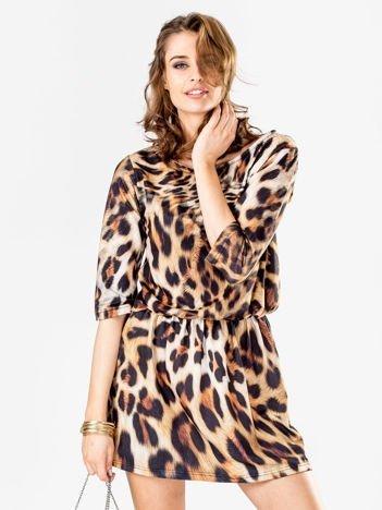 Brązowa sukienka animal print marszczona
