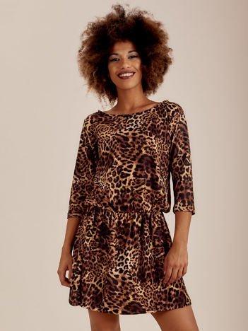 Brązowa sukienka animal print z gumką w pasie
