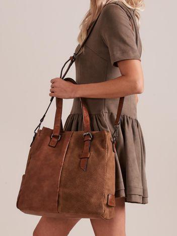 Brązowa torba damska z łączonych materiałów