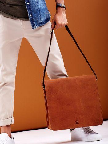 Brązowa torba męska na ramię ze skóry naturalnej