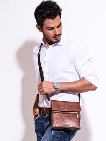 Brązowa torba męska z kieszonką na suwak