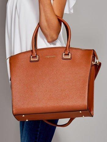 Brązowa torba shopper bag ze złotymi okuciami