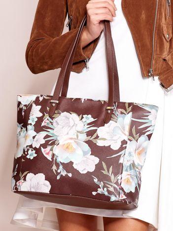 Brązowa torba shopper w kwiaty