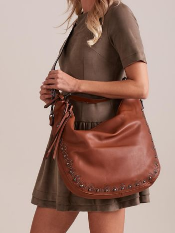 Brązowa torba z kolorowym paskiem