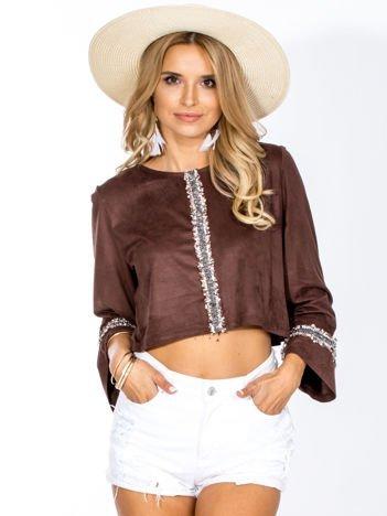 Brązowa zamszowa bluzka z szerokimi rękawami