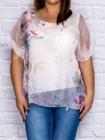 Brązowa zwiewna bluzka koszulowa w malarskie desenie PLUS SIZE
