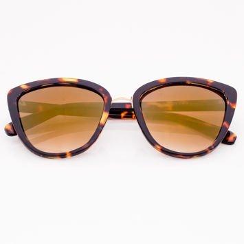 Brązowe Damskie Okulary przeciwsłoneczne CAT EYE