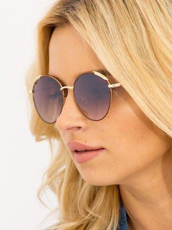 Brązowe Damskie Okulary przeciwsłoneczne Z PERŁAMI Na Zausznikach