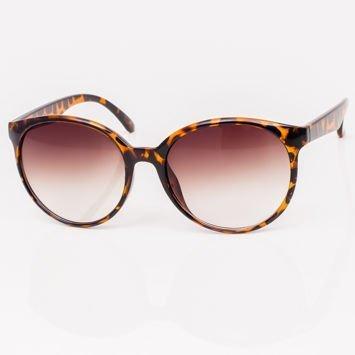 Brązowe Dwukolorowe Okrągłe Damskie Okulary Przeciwsłoneczne