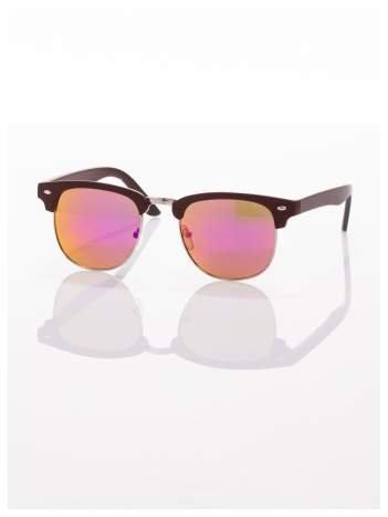 Brązowe okulary przeciwsłoneczne lustrzanki typu CLUBMASTER