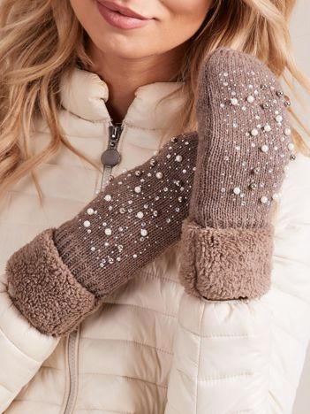 Brązowe rękawiczki damskie z aplikacją