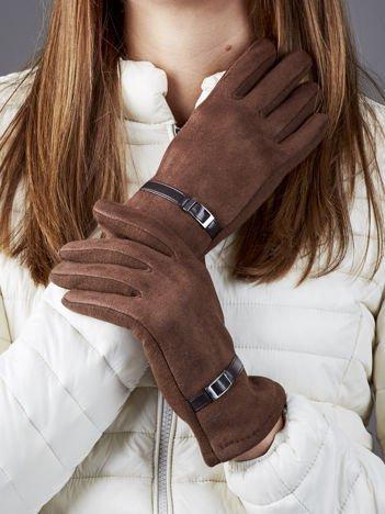 Brązowe rękawiczki z ekologicznego zamszu z klamerką